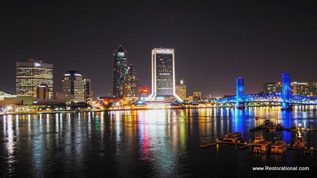 Beautiful Downtown Jacksonville Florida at Night